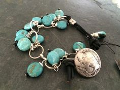 Items similar to SALE! Turquoise, Leather and Buffalo Nickel Button Bracelet on Etsy Copper Bracelet, Turquoise Bracelet, Button Bracelet, Bracelets, Blue And Copper, Handmade Copper, Czech Glass Beads, Turquoise Stone, Making Ideas
