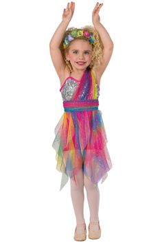 Style# 17181 RAINBOW CONNECTION Silver spotlight sequin on mesh and cerise spandex short unitard with adjustable nude elastic straps. Attached sequined rainbow mesh shoulder drape and spiral skirt. Separate matching sash. Headpiece included. XSC-XLC
