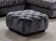 """Divani Casa Metropolitan Modern Grey Fabric Ottoman w/Crystals. The Divani Casa Metropolitan Modern Grey Fabric Ottoman with Crystals is upholstered in luxurious grey fabric featuring tufts with gorgeous artificial crystals. With a dimension of W26"""" x D26"""" x H14"""", this modern ottoman is available in other upholstery by special order in 10-16 weeks. Dimensions: W26"""" x D26"""" x H14"""" Color: Grey Finish:   -"""