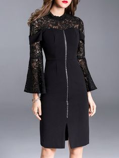 Shop Midi Dresses - Black Bell Sleeve Guipure Lace Plain Stand Collar Midi Dress online. Discover unique designers fashion at StyleWe.com.