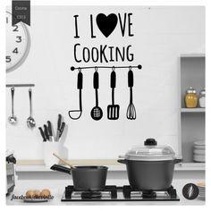 Vinilo Decorativo love cooking! El lugar de donde salen ricas cosas y buenos momentos. Dale un toque personal a tu cocina con vinilos decorativos.