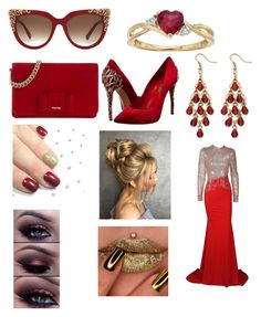 """""""Red and Gold"""" by rbugybug ❤ liked on Polyvore featuring MCM, Miu Miu, Casadei and Palm Beach Jewelry"""