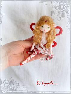 'Abella' little flower fairy OOAK Art Doll by kymeli Tiny Dolls, Soft Dolls, Plushies, Fairies, Patterns, Flowers, Handmade, Inspiration, Art