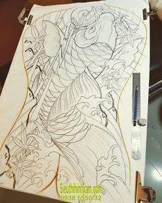 Koi Tattoo Sleeve, Carp Tattoo, Koi Fish Tattoo, Fish Tattoos, Koi Tattoo Design, Tattoo Designs, Body Art Tattoos, Tattoo Drawings, Japanese Back Tattoo