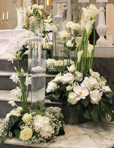 Flower design by Emmeplati Church Wedding Flowers, Altar Flowers, Church Flower Arrangements, Church Wedding Decorations, Altar Decorations, Flower Decorations, Floral Arrangements, Wedding Bouquets, Unique Centerpieces