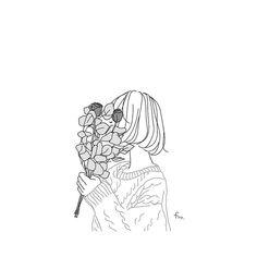 Art Drawings Sketches, Easy Drawings, Line Art Flowers, Aesthetic Drawing, Korean Art, Cute Wallpaper Backgrounds, Art For Art Sake, Anime Art Girl, Cute Art