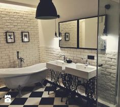 - zdjęcie od Agnieszka Zarzycka Brick Bathroom, Black Bathroom Decor, Basement Bathroom, White Bathroom, Design Bathroom, Bathroom Ideas, Zen Design, House Design, Country Countertops