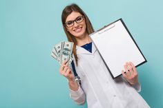 Female Doctor With Fan Of Money And Clipboard Female Doctor, Free Photos, Stock Photos, Money, Digital, Silver