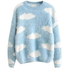Fluffy Cloud Jumper (£26) ❤ liked on Polyvore featuring tops, sweaters, shirts, sweatshirts, jumpers, jumper top, blue long sleeve top, shirt sweater, blue long sleeve shirt and shirt top