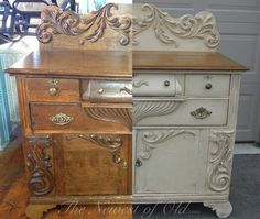 The Power of Paint!  Old Ochre loveliness!  Love the dramatic contrast of before and after with chalk paint!
