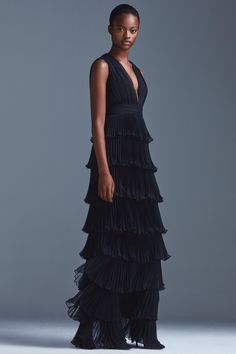 Elegant Black Ruffle Evening Gown with a Plunging V Neckline by Emanuel Ungaro, Look #44