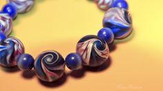 Ausgefallenes Armband bestehend aus 7 handgefertigten Perlen aus Polymer Clay und 11 CatEye-Perlen.    Polymer Clay ist eine ofenhärtende Modelliermas