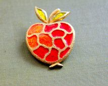 Vintage Brooch Lind Gal Signed 1960s APPLE Enameled Mosaic Red Orange