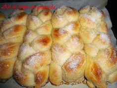 Así se come en Granada: trenza de brioche - Bread - Bakery Recipes, Cooking Recipes, Hispanic Desserts, Challah Bread Recipes, Brioche Bread, Biscuit Bread, Sweet Dough, Decadent Cakes, Crazy Cakes