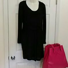 Athleta perfect packerita dress adorable!! Black Athleta dress.  Long sleeves are sheer burnout style, perfect for fall.  Dress is fully lined, with contrasting ruched waist to hide any extra weight.  Pockets make this just perfect.  Gently used and fabulous! Soft and comfortable for fall and into winter. Athleta Dresses Long Sleeve