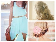 This dress with either one of the hair styles would be really pretty for a semi formal dance. Love!