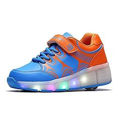 Kids Girl Boy Light Up Wheels Roller Shoes Skates Sneakers Flashing Dance Boot