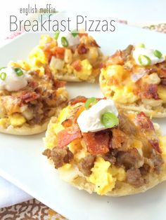 Toasted English Muffins brushed with a garlic butter sauce. Topped with all your favorites; hash browns, shredded cheese, sausage, and scrambled eggs! These are sure to be a hit! One of my family's favorite dinners is breakfast! Pancakes, waffles, french toast, or our favorite, breakfast burritos. These breakfast pizzas are so much fun, especially for …