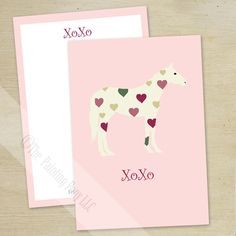 Hugs and Kisses Heart Pony Valentine's Day Flat Cards (10 pk) - equestrian horse lover valentine stationery set