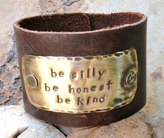 Hand Stamped leather cuff braceletBe Silly Be by Stampedbymichele, $32.50