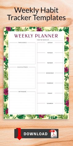 This collection of Weekly Habit Tracker Templates gives you the opportunity to organize your activities and keep track of your schedule without unnecessary distractions. These planners are designed in a simple way and contains main parts. Easy to use and fill out. Weekly Hourly Planner, Weekly Planner Template, Weekly Schedule, Printable Planner, Printables, Timetable Template, Best Templates, Planner Pages, As You Like
