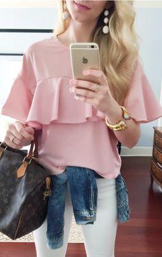 Clothes Men   Women · pink ruffle tee Street Mode, Frühlingsmode, Mode  Outfits, Damenmode, Winter Mode, 040df5f6ad