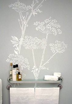 Giant Queen Anne's Lace stencil for the front of the dresser and the bathroom wall under the towel rack.