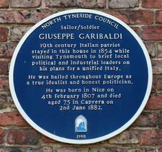 Giuseppe Garibaldi Blue Plaque, Tynemouth, via Flickr.