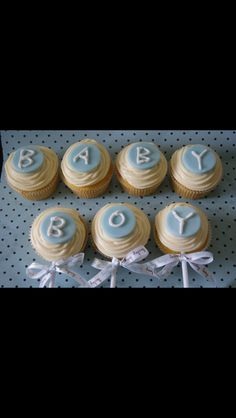 Baby Boy Rattle Cupcakes from Kelly's Cupcake Company Naples, FL #kellyscupcakecompany #cupcakes #babyshower #Naples #bakery