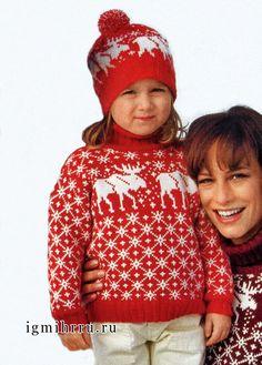 Красный свитер и шапочка с норвежскими узорами, для девочки 5-10 лет. Спицы