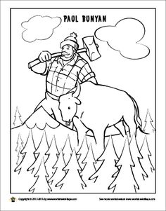 paul bunyan and his giant blue ox babe paul bunyantall talesfolktalethirsty thursdaycoloring pageslumberjack