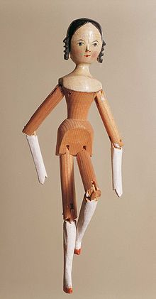 Peg wooden doll - Wikipedia, the free encyclopedia (NOTE: In the References section there is a link to Rita Stäblein's article on toy manufacture in old Gröden.