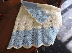 Hand Knitted Pale Blue and White Ripple Baby Blanket £10.00