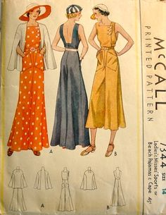 McCall 7344 circa 1933 Sports or Beach Pajamas and Cape