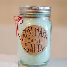 DIY Rosemary Bath Salts. It takes minutes and makes a super cute gift!
