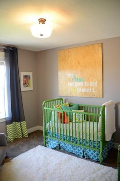 """LOVE the Sound of Music wall art above the crib. """"The sun has gone to bed & so must I..."""" :)"""