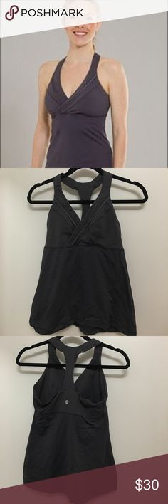 Lululemon Deep Breath Tank, like new! - size 8 Awesome Lululemon tank with flattering V neck. Really comfortable for yoga, Pilates, or all around athleisure. :) cute enough to wear to the gym or brunch after! Could easily pass for a non-workout top with the cute detailing. Great condition! lululemon athletica Tops Tank Tops