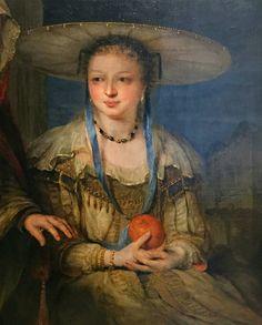 "Aert de Gelder, ""Vertumnus and Pomona,"" detail, late century. 17th Century Art, Apple Fruit, Rembrandt, Blue Ribbon, Painters, Cross Stitch Patterns, Amsterdam, Universe, Portrait"