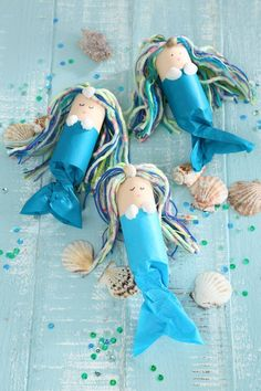 We are celebrating a mermaid birthday - Kids Birthday mermaid, sea mermaid party, mermaid crafts, mermaid crafting idea, mermaid invitation - Kids Crafts, Summer Crafts, Toddler Crafts, Crafts To Do, Craft Projects, Summer Art, Toilet Roll Craft, Toilet Paper Roll Crafts, Craft Activities