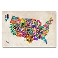 Michael Tompsett 'United States Text Map' canvas art | Overstock™ Shopping - Top Rated Trademark Fine Art Canvas