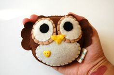 Eco Friendly Plush Owl Toy In Brown With Yellow Heart by vivikas, $15.00