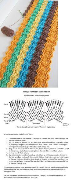 """vintage crochet ripple stitch pattern """"vintage crochet ripple stitch pattern ♥ Feather and Fan Diagram Chart"""", """"vintage crochet ripple stitch pattern a Crochet Motifs, Crochet Diagram, Crochet Stitches Patterns, Crochet Chart, Free Crochet, Stitch Patterns, Knitting Patterns, Knit Crochet, Diagram Chart"""