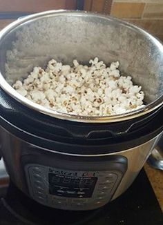Instant Pot Popcorn. If kernels don't pop soak in water for 5 minutes before popping. Or add a spoonful of water to container occasionally.