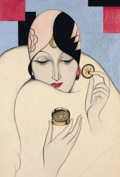 Federico Ribas, Art Deco illustration for Perfumería Gal Madrid, 1920s.