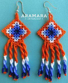 Mexique Huichol perles Orange et bleu Ojo de Dios / par Aramara