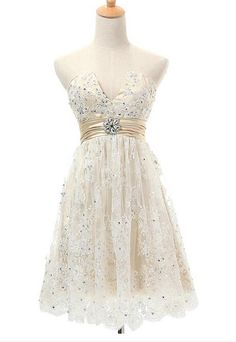 Lace Homecoming Dresses,V-neck Homecoming DressesmZipped Back Homecoming Dresses,Pretty