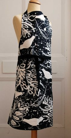Black and White Birds and Leaves Apron. Cotton Drill. Silk Screen Printed in the UK. by GraceRigbyTextiles on Etsy