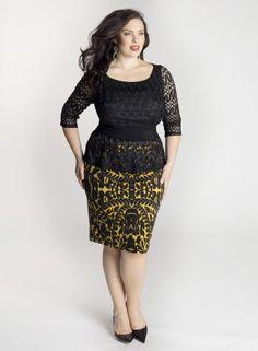 Nicolette Peplum Dress in Mustard
