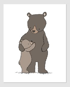 Woodland Nursery Art - Bear Hugs - Mama and Baby Bear