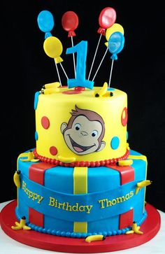 Curious George 1st birthday cake